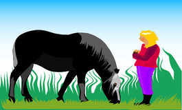 Girl with horse. This is an illustration with a girl and her horse Royalty Free Stock Image