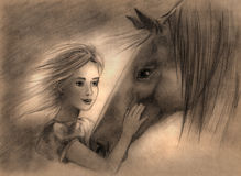 Girl with Horse. Cute little girl with her favourite horse looking at each other Stock Images