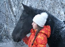 The girl and horse Royalty Free Stock Photos