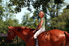Girl on a horse. Girl riding her horse minus the saddle stock images