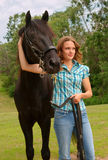 Girl and horse. Pretty girl and hansome horse Royalty Free Stock Image