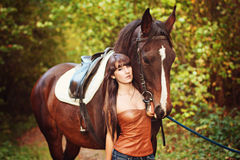 Girl with horse Stock Photos