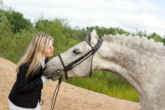 Girl with horse. Royalty Free Stock Photography