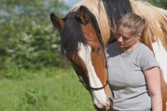 Girl and horse. Friendship and empathy stock image