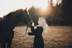 Girl with horse Stock Photography