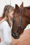 Girl with horse stock photos