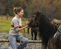 Girl with Horse Royalty Free Stock Image