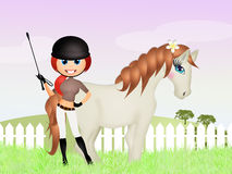 Girl with horse female Royalty Free Stock Photography