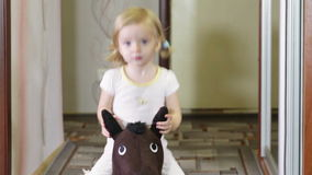 Girl on horse stock video