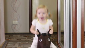Girl on horse stock video footage