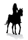 Girl on horse. Girl riding a horse. Horse riding walk Stock Photos