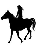 Girl on horse. Girl riding a horse. Horse riding walk. Silhouette on a white background Royalty Free Stock Photos