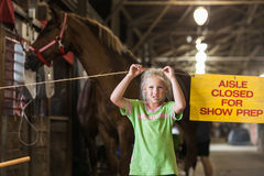 Girl with horse at state fair Royalty Free Stock Images