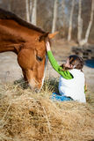 Girl and horse. True Friendship. Beautiful little girl sitting on the hay, which eats the horse and flatter it. True Friendship stock photo