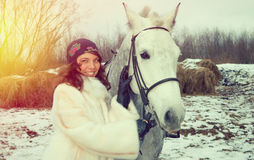 Girl on a horse. Royalty Free Stock Image