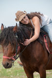 The girl and the horse royalty free stock photography