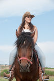 The girl and the horse royalty free stock image