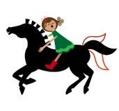 A girl and a horse. Young cartoon girl having fun on her horse Royalty Free Stock Photos