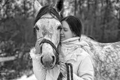 Girl and horse Stock Photo