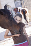 Girl with horse Royalty Free Stock Photo