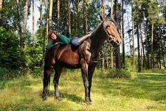 Girl on horseback Stock Photo
