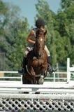 Girl horseback riding. Teen girl riding brown horse over jump Royalty Free Stock Photo
