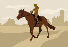 Girl on horseback, silhouette Royalty Free Stock Images