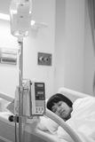 Girl in hospital bed Royalty Free Stock Photography