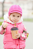 Girl with hot drink Stock Photos