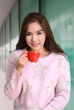 Girl and hot fresh coffee. Royalty Free Stock Images