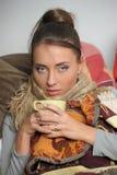 The girl with hot tea Stock Photos