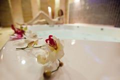 Girl in hot tub Stock Photo