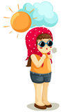 Girl in hot weather vector illustration