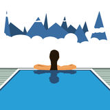 Girl in the hotel pool. Vector travel illustration. Girl in the pool. Vector travel illustration Stock Photo