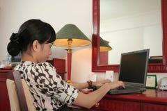 Girl in hotel room stock photos