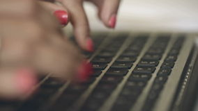 Girl in a hotel room talking on the Internet through your macbook. stock video footage