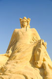 Girl with a hourse. For a second time the Municipality of Burgas organizes the one of its kind Sand Sculptures Festival in Bulgaria. The place of the exhibition Royalty Free Stock Images