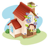 Girl and house Stock Photos
