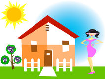 Girl and a house. In summer Royalty Free Stock Photo