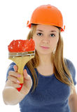 The girl is house painter. Royalty Free Stock Photos