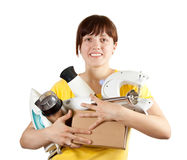 Girl with household appliances. Over white Royalty Free Stock Photography