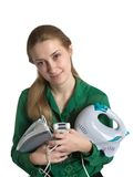 Girl with household appliances Royalty Free Stock Images
