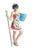 Girl housewife cleaner Stock Photo