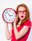 Girl with huge clock Stock Photos