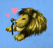 Girl and huge lion. Girl kissing huge lion. Pencil drawn sketch, colored Royalty Free Stock Photography
