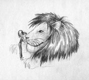 Girl and huge lion - sketch Stock Photo