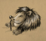 Girl and huge lion - sketch stock image