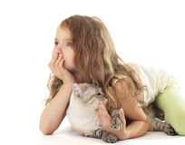 Girl hugged her cat and dreaming. Royalty Free Stock Images