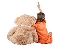 Girl hugging bears and shows thumb up Royalty Free Stock Photography