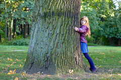 Girl is hugging a big tree in autumn park. Royalty Free Stock Image